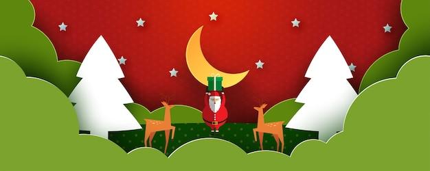 Prettige kerstdagen en gelukkig nieuwjaar winterlandschap, kerstman met geschenkdoos en paar herten papierkunst