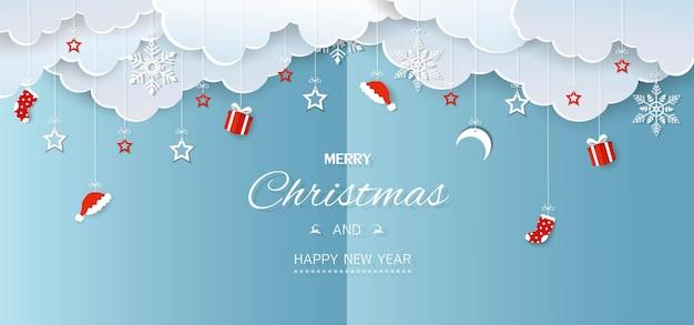 Prettige kerstdagen en gelukkig nieuwjaar wintervakantie banner achtergrond op papier gesneden stijl