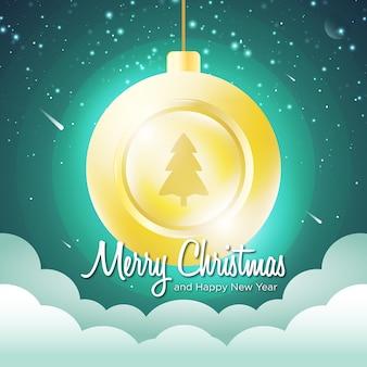 Prettige kerstdagen en gelukkig nieuwjaar wolken hemel en sterren concept idee