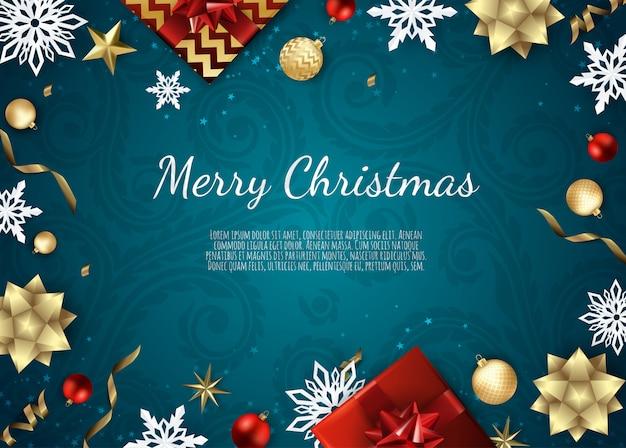 Prettige kerstdagen en gelukkig nieuwjaar, xmas achtergrond met geschenkdoos, sneeuwvlokken en ballen ontwerp,