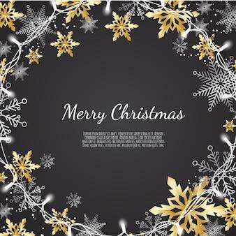 Prettige kerstdagen en gelukkig nieuwjaar, xmas achtergrond met glanzende gouden en zilveren sneeuwvlokken, wenskaart, vakantie banner,