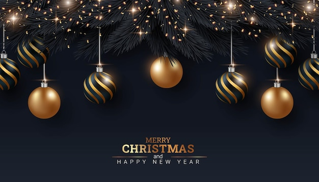 Prettige kerstdagen en gelukkig nieuwjaar zwarte achtergrond afbeelding