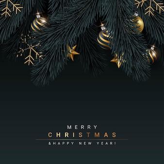 Prettige kerstdagen en gelukkig nieuwjaar zwarte achtergrondontwerp