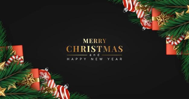 Prettige kerstdagen en gelukkig nieuwjaar zwarte banner ontwerpsjabloon