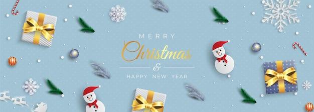 Prettige kerstdagen en gelukkig nieuwjaarsgroet met geschenkdozen