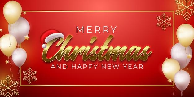 Prettige kerstdagen en gelukkig nieuwjaarsgroet met vierkant goud op rode achtergrond