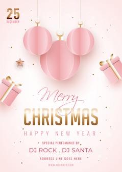 Prettige kerstdagen en gelukkig nieuwjaarsjabloon of flyer versierd met hangend papier gesneden kerstballen, geschenkdoos en locatie details.