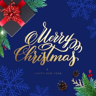 Prettige kerstdagen en gelukkig nieuwjaarskaart met een geschenken en belettering. achtergrond met realistische decoraties voor de feestdagen