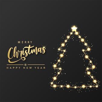 Prettige kerstdagen en gelukkig nieuwjaarskaart met gloeiende kerstboomverlichting. vector