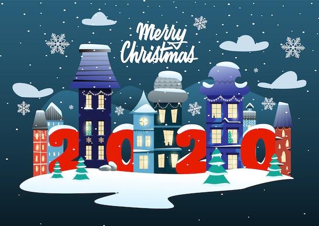 Prettige kerstdagen en gelukkig nieuwjaarskaart met letters en een magische stad