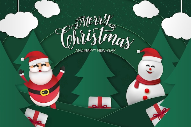 Prettige kerstdagen en gelukkig nieuwjaarskaart met papercut-effect
