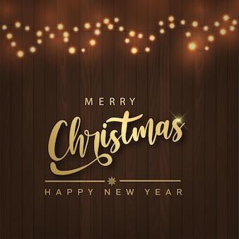 Prettige kerstdagen en gelukkig nieuwjaarskaart met xmas slingers op houten achtergrond. vector