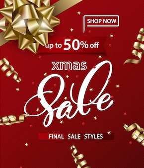Prettige kerstdagen en gelukkig nieuwjaarspatroon van verkoopbanners op een rode achtergrond verkoopconcept