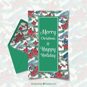 Prettige kerstdagen en gelukkig vakantie groene briefsjabloon
