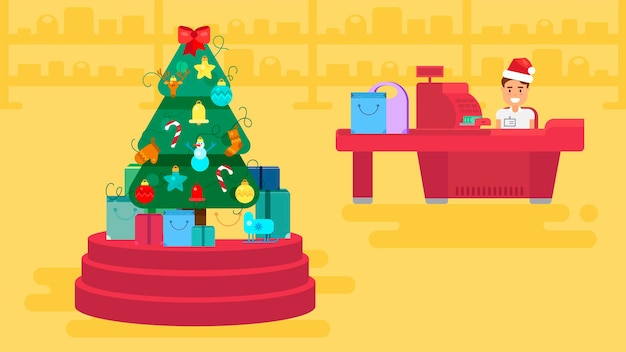 Prettige kerstdagen en nieuwjaar in de winkel. winkel met klantenmenigte en kassier in de buurt van kassa. geschenken en cadeautjes. winkelen concept illustratie. verkoop tweede kerstdag banner. vector