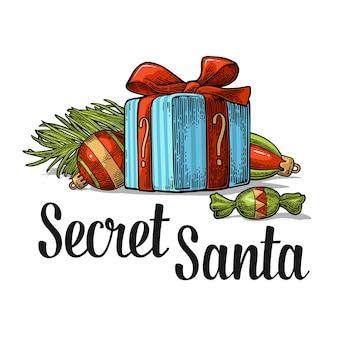 Prettige kerstdagen en nieuwjaar instellen secret santa belettering vector vintage kleur gravure illustratie