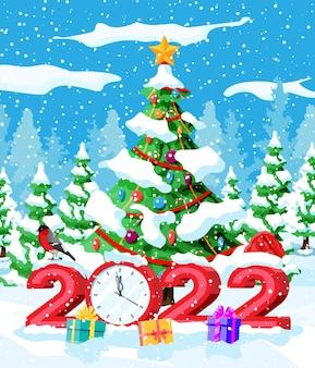 Prettige kerstdagen en nieuwjaar kerstgroetkaart met vetgedrukte letters van 2022. kerstman hoed, geschenkdoos, boom, bal en klok, goudvink vogel. winter boslandschap. platte vectorillustratie