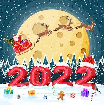 Prettige kerstdagen en nieuwjaar kerstgroetkaart met vetgedrukte letters van 2022. kerstmanhoed, geschenkdoos, snoepriet, glazen bol en peperkoekmannetje. goudvink wintervogel. platte vectorillustratie