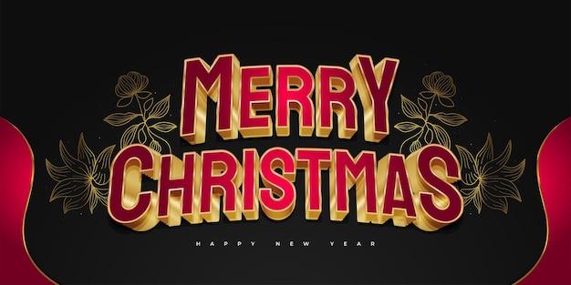 Prettige kerstdagen en nieuwjaarsbanner of -poster met rode en gouden 3d-tekst en elegante bloemenillustratie