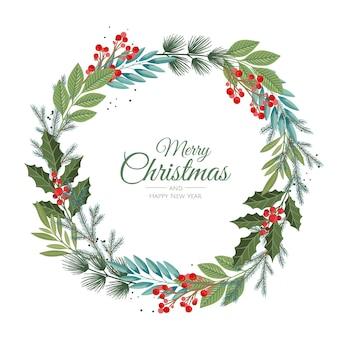 Prettige kerstdagen en nieuwjaarskaart met dennenkrans, maretak, winterplanten ontwerp illustratie voor groeten, uitnodiging, flyer, brochure.