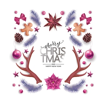 Prettige kerstdagen, gelukkig nieuwjaar achtergrond met traditionele decoratiesymbolen
