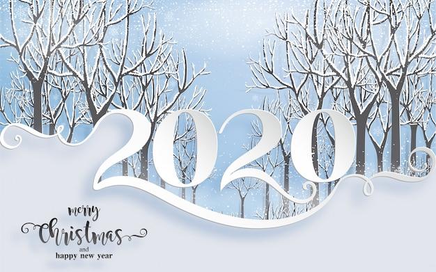Prettige kerstgroeten en gelukkig nieuwjaar 2020-sjablonen met prachtige winter en sneeuwval patroon gesneden papier kunst.
