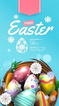 Prettige paasvakantie met beschilderd ei, konijn, wortel en bloem