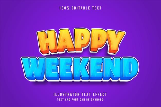 Prettige vakantie, 3d bewerkbaar teksteffect gele gradatie blauwe komische stijl