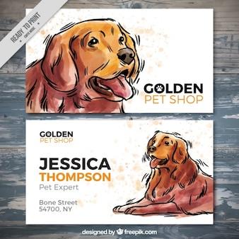 Pretty dierenwinkel kaart met waterverf hond