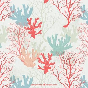 Pretty hand getekende gekleurde zeewierachtergrond