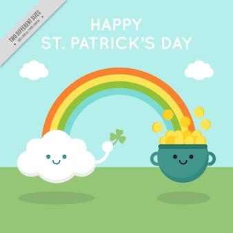 Pretty st patrick dag achtergrond met rainbow en glimlachen personages