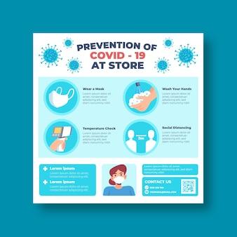 Preventie covid-19 bij winkel vierkante flyer-sjabloon