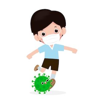 Preventie van coronavirusziekte. mensen vechten met coronavirus (2019-ncov), karakter mensen schoppen covid-19, antivirus en bacteriën, geïsoleerd gezonde levensstijl concept