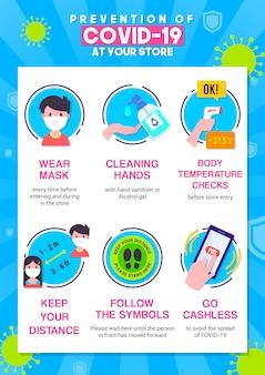 Preventie van covid-19 bij winkel infographic poster vectorillustratie