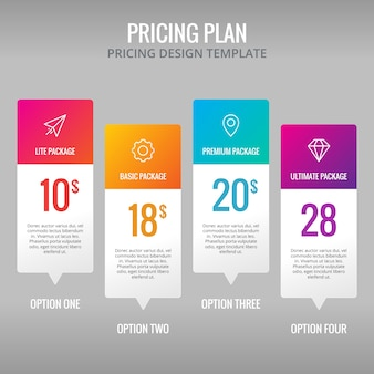Pricing plan template infographic design element