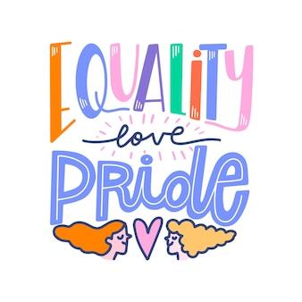 Pride day belettering met gelijkheid