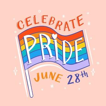 Pride day belettering met vlag achtergrond