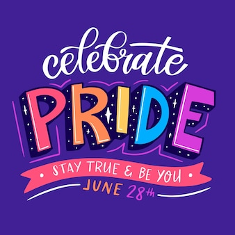 Pride day belettering op paarse achtergrond
