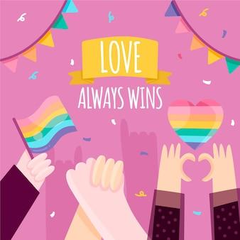 Pride day concept met confetti
