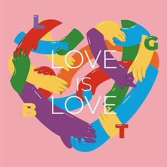 Pride day concept met hart van handen