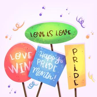 Pride day concept met verschillende kaarten met berichten