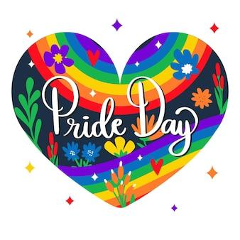 Pride day hartvormige achtergrond met belettering en bloemen