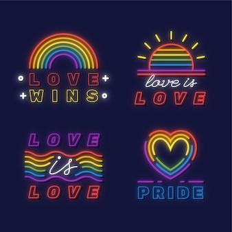 Pride day neon sign illustraties pack