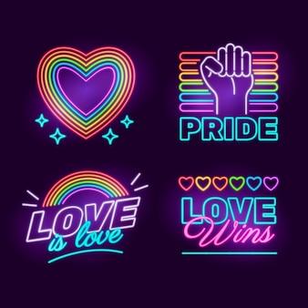 Pride day neonreclames collectie Gratis Vector