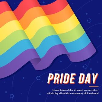 Pride day vlag realistisch ontwerp