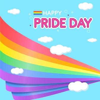 Pride day-vlaggen met wolkenachtergrond