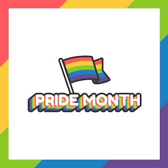 Pride-maandsticker of label met plat ontwerp met regenboogvlag