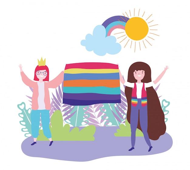 Pride parade lgbt community, gelukkige vrouwen met regenboogvlagviering
