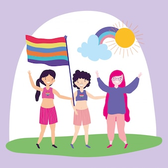 Pride parade lgbt community, mensen homoseksueel en transgender vrijheid demonstratie met regenboogvlag