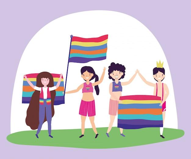 Pride parade lgbt community, mensen met vlaggen diversiteit steunen vrijheid